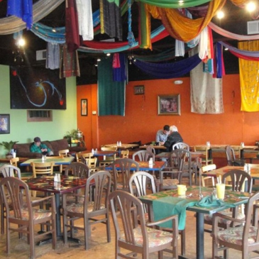 Inside Annapurna's World Vegetarian Cafe, Santa Fe